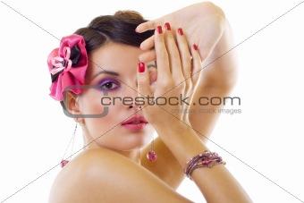 beautiful lady with bright purple make-up