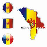 moldova in map and internet buttons shape