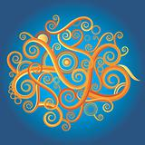Curly color abstract shape design