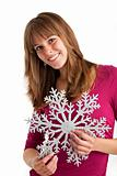 young woman holding a decorative snow flake