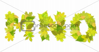 Alphabet - letters with a green leaves