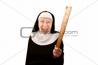 Laughing nun brandishing a ruler