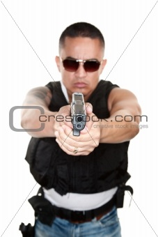 Tough Cop Pointing Gun