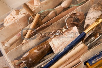 Clay forming tools in kit