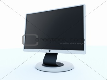 3d render of flat LCD monitor