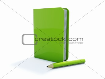 Green notebook with pen