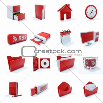 16 red plastic 3d icons