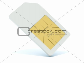 3d sim card isolated on white
