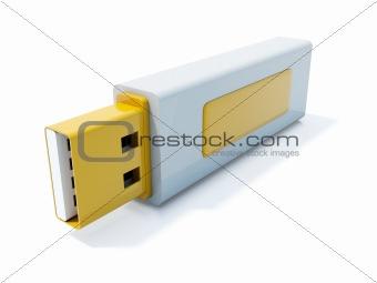 Yellow USB flash icon