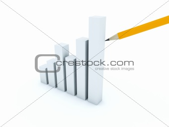 Business graph with yellow pencil