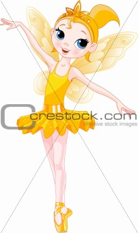 (Rainbow colors ballerinas series). Yellow Ballerina
