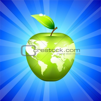 Apple Globe World Map on Blue Background