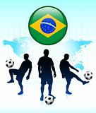 Brazil Flag Icon on Internet Button with Soccer Team