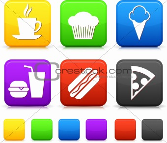 Food Icond on Square Internet Buttons