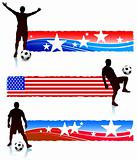Soccer Players with Patriotic Banners