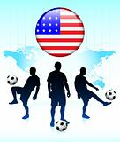 United States Flag Icon on Internet Button with Soccer Team