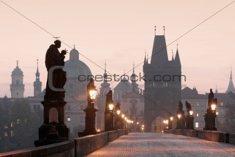 czech republic prague - charles bridge at dawn