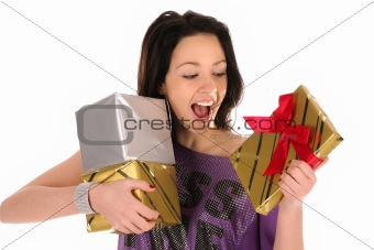 Beautiful happy girl with a gifts