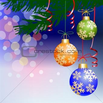 Christmas balls on blue light background