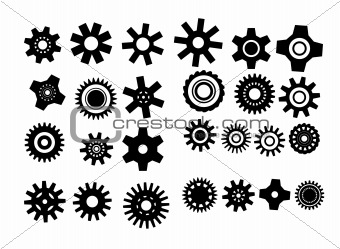 poster with gearwheel. vector illustration black and white