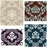 seamless damask pattern set