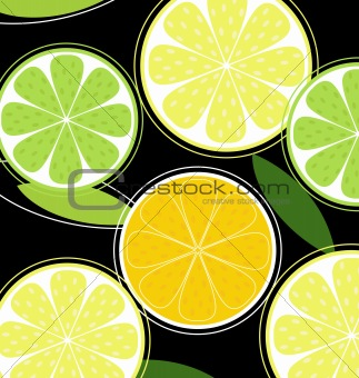 Citrus fruit on black background (vector)