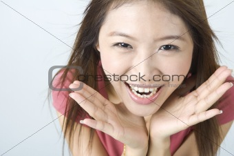 shocked smile looking asian girl