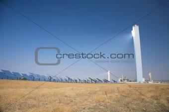 tower reflects sun