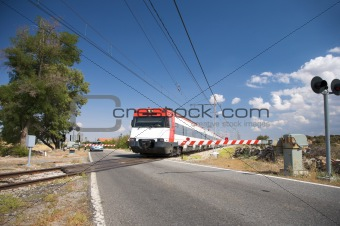 train at level crossing