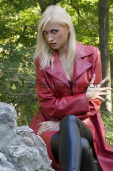 blond girl anger in park