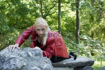 blond girl in park