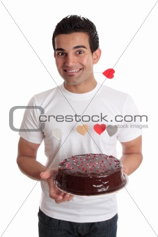 Valentine Fun- Male with chocolate heart cake