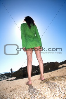 barefoot green dress woman