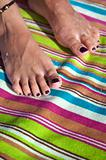 varnished toenails