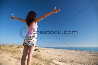 woman adore beach
