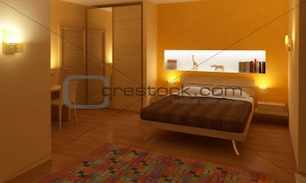 3d interior of bedroom