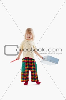 boy with long blond hair suitcase and comb isolated on white