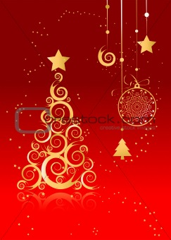 Christmas card for your design, golden pine