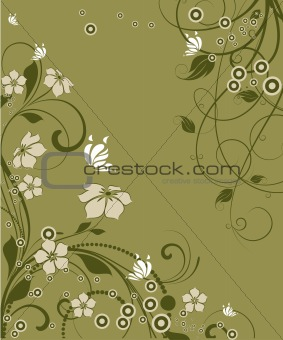 Floral background with btterflies.