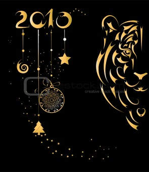 Christmas card with stylized tiger symbol year