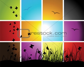 Times of day, sunset on meadow, mosaic background for your design