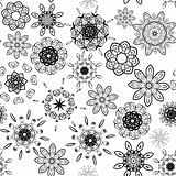 Black on white seamless floral pattern