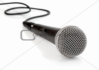 black microphone with cable isolated