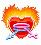 red burning love heart with male and female symbols