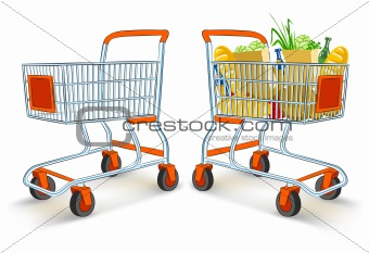 full and empty shopping carts from supermarket store