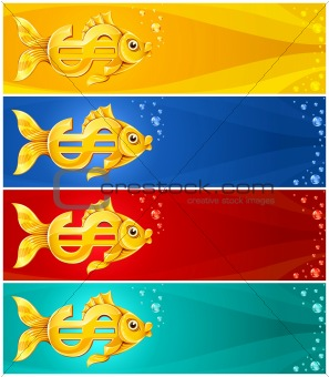gold fish in form of dollar currency sign