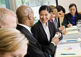 Businesswoman at Meeting Smiling