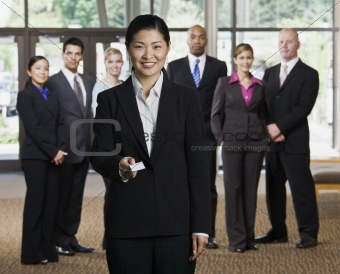 Businesswoman Offering Business Card