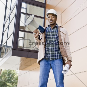 Male Construction Worker With Bullhorn
