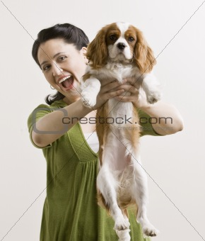 Adult Woman with Puppy